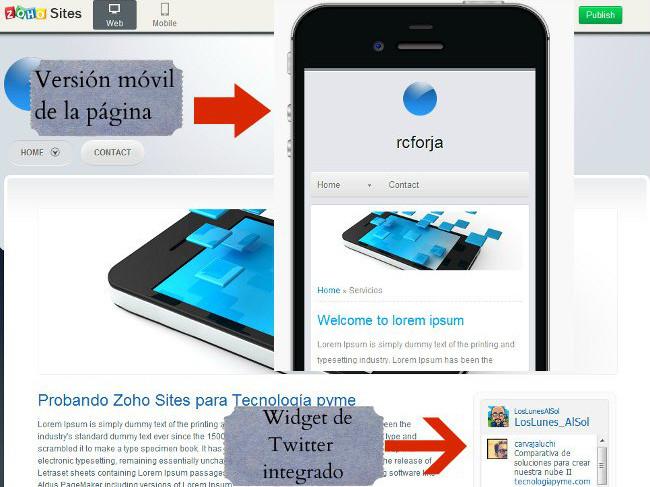 ZOHO Sites crea tu página web