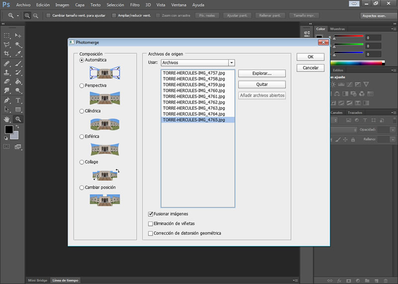 Crear panorámica Photoshop photomerge