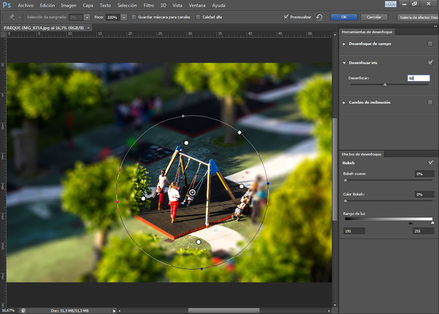 Tilt Shift Photoshop efecto desenfocar